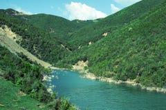 Ajardine com montanhas, floresta e um rio na parte dianteira Cenário bonito Fotos de Stock Royalty Free