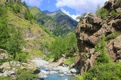 Ajardine com montanhas, vegetação e o rio Fotografia de Stock Royalty Free