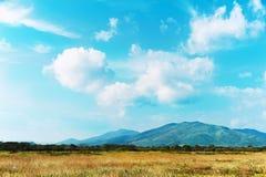 Ajardine com Mountain View, o céu azul e as nuvens bonitas. Fotografia de Stock Royalty Free