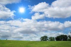 Ajardine com nuvens e árvore Fotos de Stock