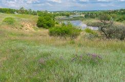 Ajardine com o beira-rio de Sura na vila de Sursko-Lytovske, Ucrânia Foto de Stock Royalty Free