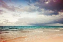 Ajardine com o céu tormentoso dramático em um nascer do sol Imagem de Stock