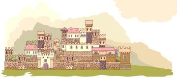 Ajardine com o castelo medieval antigo no monte S tirado mão Fotografia de Stock