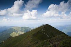 Ajardine com o cume da montanha nas montanhas Carpathian Foto de Stock