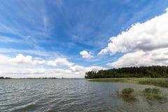 Ajardine com o lago no verão - céu azul Fotos de Stock Royalty Free