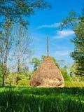 Ajardine com o monte de feno na área de Spreewald, Alemanha Foto de Stock Royalty Free
