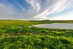 Ajardine com o prado verde e o nebuloso azul Imagens de Stock Royalty Free