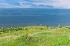 Ajardine com o reservatório de Kakhovka situado no rio de Dnepr Foto de Stock
