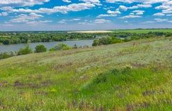Ajardine com o rio de Suha Sura na vila de Vasylivka perto da cidade de Dnepr, Ucrânia central Foto de Stock