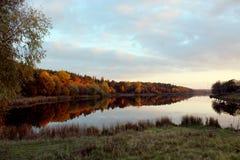 Ajardine com o rio e a floresta que refletem nela Fotos de Stock