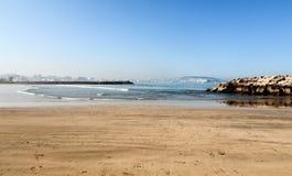 Ajardine com o Sandy Beach de Tânger, Marrocos, África Imagens de Stock Royalty Free