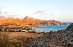 Ajardine com opinião do mar na Creta, Grécia Imagem de Stock Royalty Free
