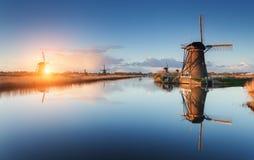 Ajardine com os moinhos de vento e o trajeto holandeses tradicionais perto dos canais da água Foto de Stock Royalty Free