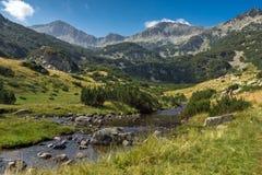 Ajardine com pico de Banderishki Chukar e rio da montanha, montanha de Pirin Foto de Stock