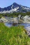 Ajardine com pico de Sivrya e lagos Banski, montanha de Pirin Foto de Stock Royalty Free