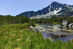 Ajardine com pico de Sivrya e lagos Banski, montanha de Pirin Fotos de Stock Royalty Free
