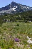 Ajardine com pico de Sivrya e lagos Banski, montanha de Pirin Fotografia de Stock