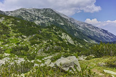 Ajardine com picos de Vhren e de Hvoynaty, montanha de Pirin Foto de Stock Royalty Free
