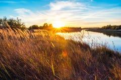 Ajardine com por do sol perto do rio com um campo de grama Fotos de Stock