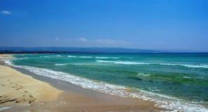Ajardine com a praia de Al Khiyam da areia no pneumático, Líbano Foto de Stock Royalty Free