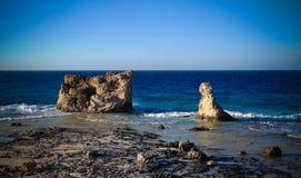 Ajardine com a praia de Cleopatra da areia perto de Mersa Matruh, Egito Imagem de Stock