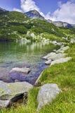 Ajardine com reflexão do pico de Muratov no rio, montanha de Pirin Imagem de Stock Royalty Free