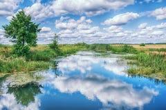 Ajardine com rio, árvores e nuvens no céu Foto de Stock Royalty Free