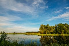 Ajardine com rio e árvores contra o céu azul Foto de Stock