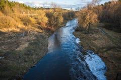 Ajardine com rio e floresta da completo-água na primavera perto de Moscou Foto de Stock Royalty Free