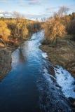 Ajardine com rio e floresta da completo-água na primavera perto de Moscou Foto de Stock