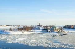 Paisagem com a tração do gelo em Helsínquia Foto de Stock Royalty Free