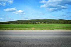 Ajardine com um campo da grama, do céu azul e da floresta do pinho Foto de Stock