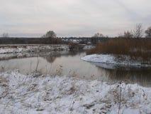 Ajardine com um lago, campo, árvores Fotografia de Stock