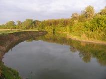 Ajardine com um lago, campo, árvores Imagens de Stock Royalty Free