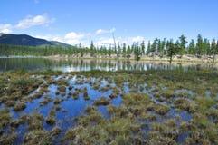 Ajardine com um lago e as montanhas ao longo dos bancos. Fotos de Stock Royalty Free