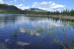 Ajardine com um lago e as montanhas ao longo dos bancos. Imagens de Stock