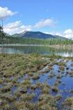 Ajardine com um lago e as montanhas ao longo dos bancos. Foto de Stock