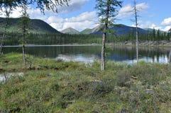 Ajardine com um lago e as montanhas ao longo dos bancos Foto de Stock