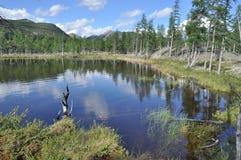 Ajardine com um lago e as montanhas ao longo dos bancos Fotos de Stock