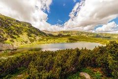 Ajardine com um lago glacial nas montanhas de Fagaras Imagem de Stock Royalty Free
