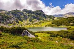 Ajardine com um lago glacial nas montanhas de Fagaras Imagens de Stock Royalty Free