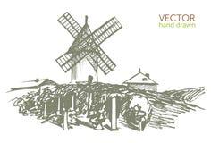 Ajardine com um moinho de vento, teste padrão do vintage, nouveau do Beaujolais Imagem de Stock