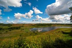 Ajardine com um prado, um lago e as nuvens Fotos de Stock