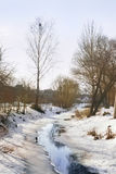 Ajardine com um rio derretido do gelo Imagens de Stock