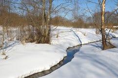 Ajardine com um rio no fim do inverno Foto de Stock