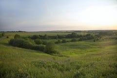 Ajardine com um vale verde perto de uma vila no verão Imagens de Stock Royalty Free