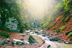 Ajardine com uma cachoeira e um rio da montanha no outono Fotos de Stock