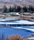 Ajardine com uma casa e um lago congelado com um cisnei branco Fotos de Stock