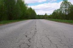 Ajardine com uma estrada danificada pelo asfalto, pelas árvores e pelo céu Imagens de Stock Royalty Free