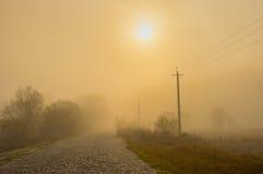 Ajardine com uma estrada de pedra antiga na névoa no por do sol na área rural ucraniana Foto de Stock Royalty Free